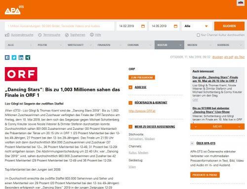 """""""Dancing Stars"""": Bis zu 1,003 Millionen sahen das Finale in ORF 1"""